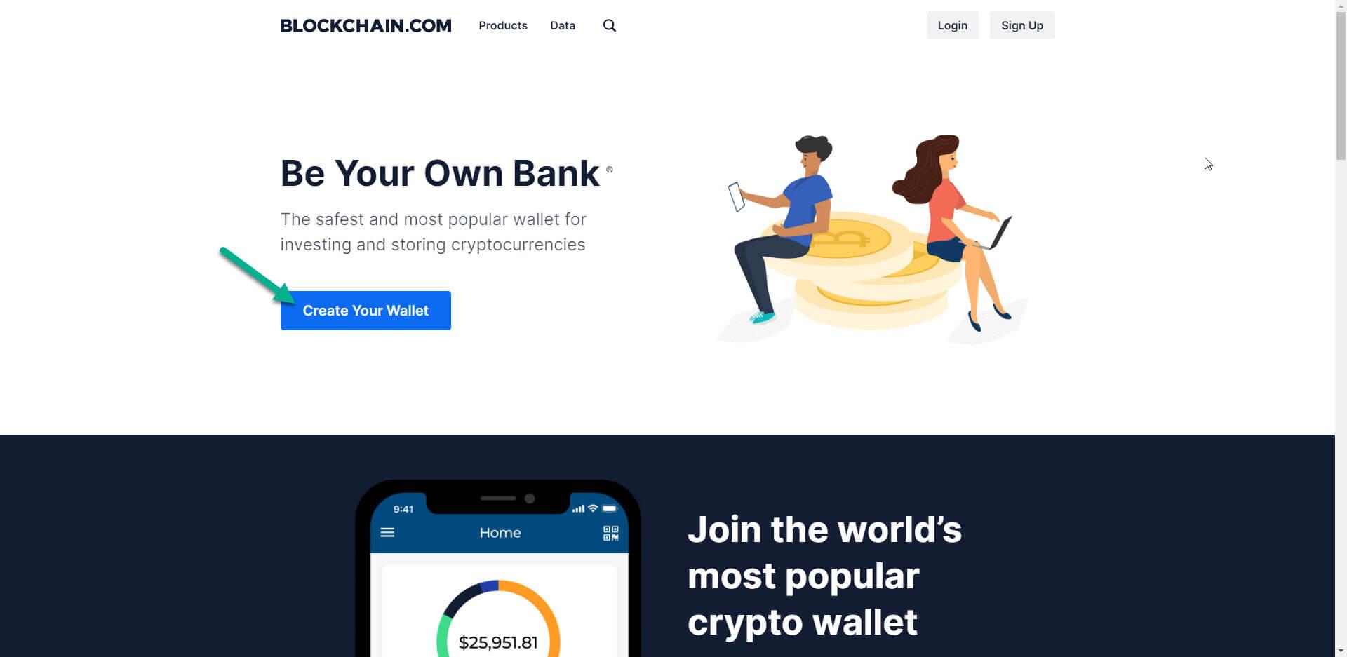 إنشاء محفظة BLOCKCHAIN.COM