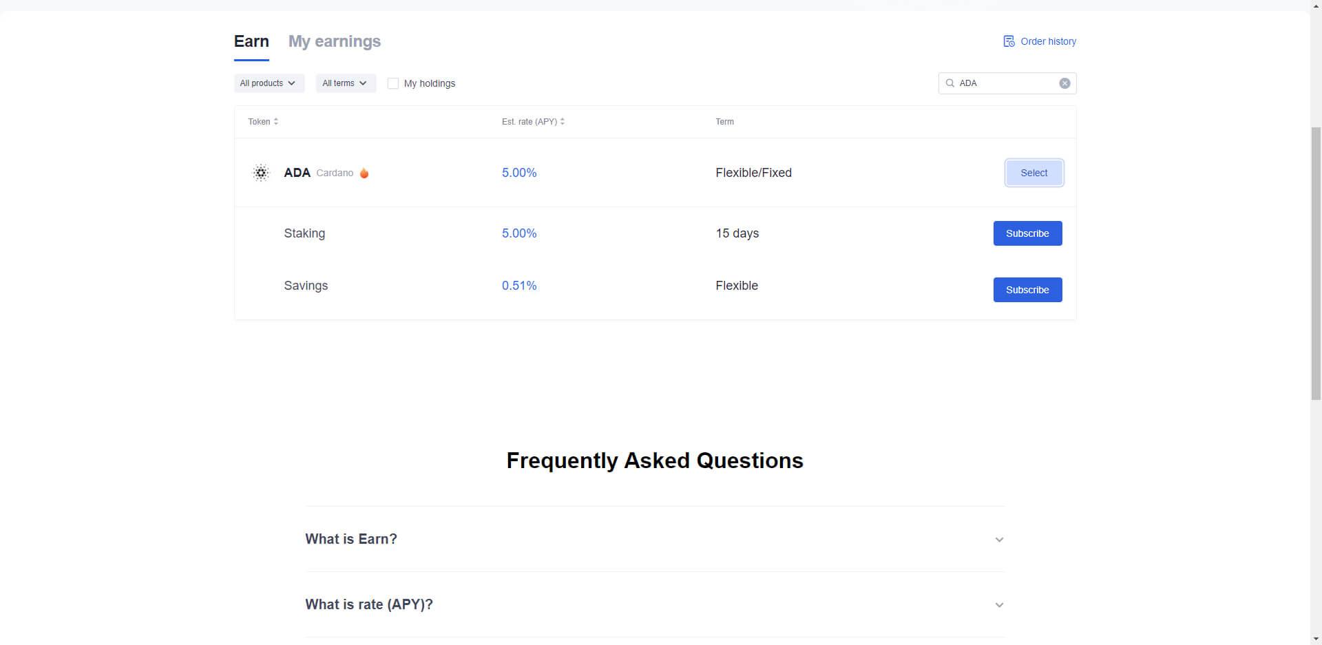 تكديس Staking عملة أدا عبر منصة OKEx